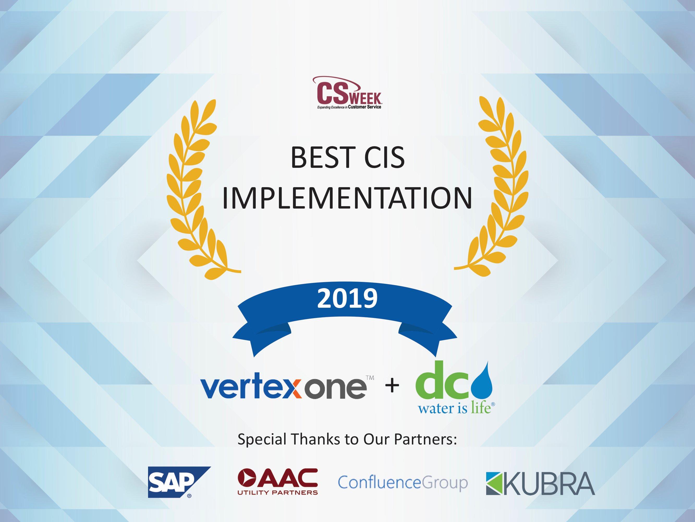 DC Water's VertexOne Customer Platform Initiative Recognized with Best CIS Implementation Award